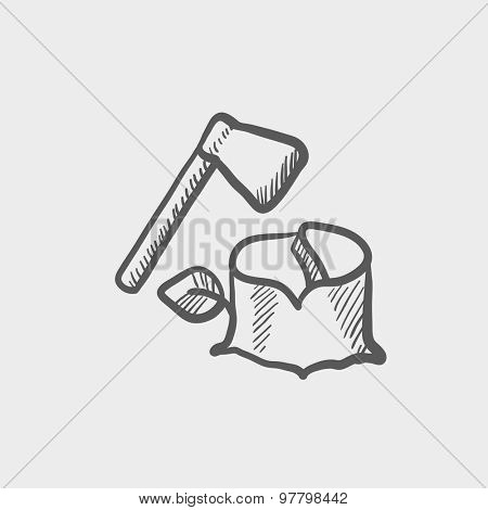 Ax and wood sketch icon for web and mobile. Hand drawn vector dark grey icon on light grey background.