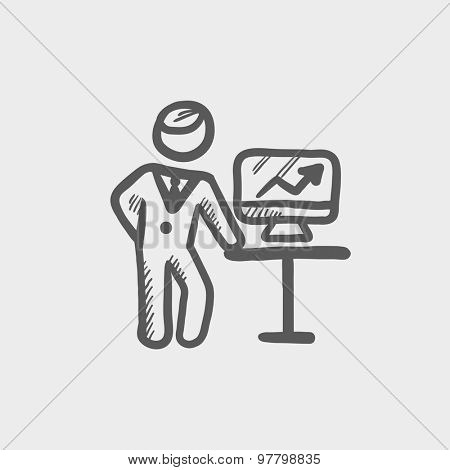 Business presentation sketch icon for web and mobile. Hand drawn vector dark grey icon on light grey background.