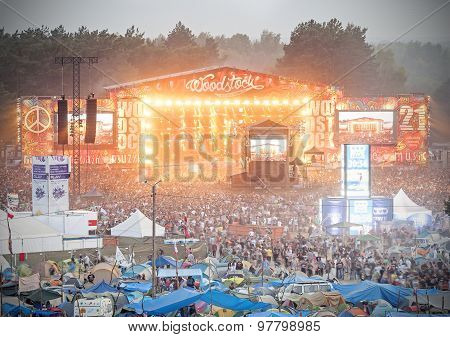 Evening View Of Concert On Main Stage And Tents.