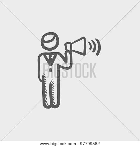 Man with megaphone sketch icon for web and mobile. Hand drawn vector dark grey icon on light grey background.