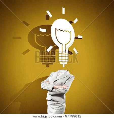 Headless woman with light bulb instead of head