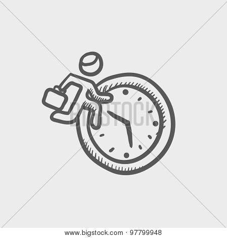 Man running in time sketch icon for web and mobile. Hand drawn vector dark grey icon on light grey background.