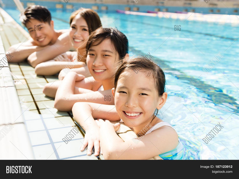 Happy Asian Family Playing Swimming Image Photo Bigstock