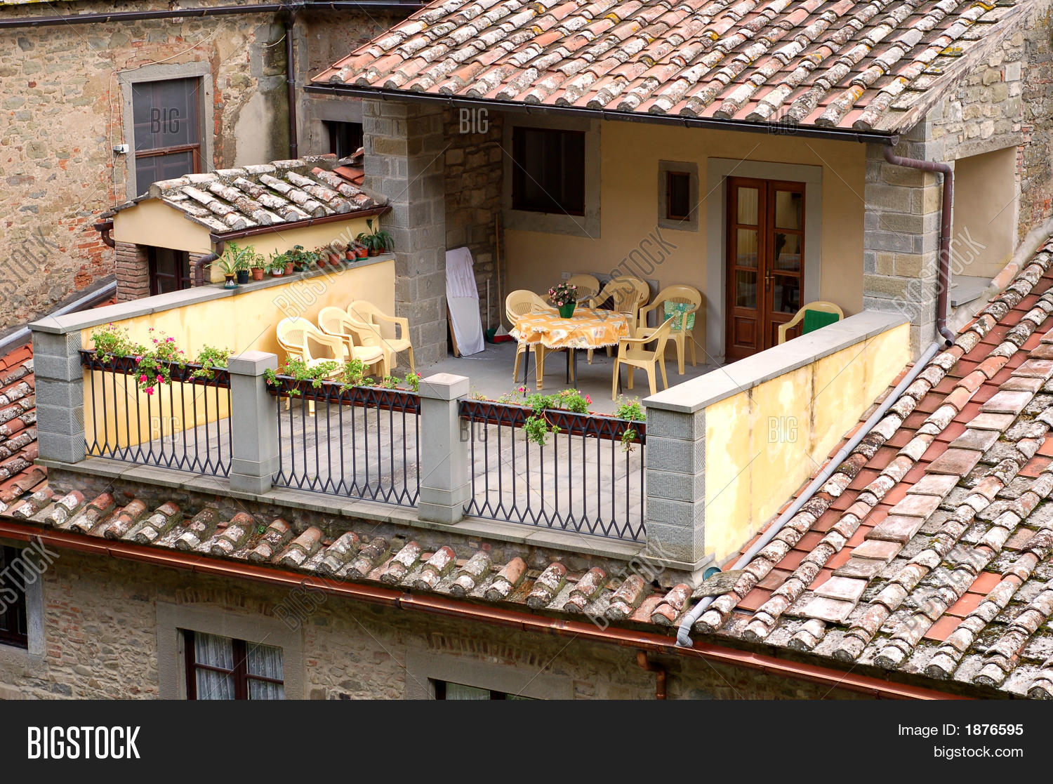 Sunny tuscan patio image photo bigstock for Tuscan roof design