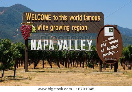 Napa Valley sign on the road before you enter Napa Valley