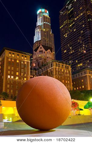 Big ball in the center of downtown Las Angeles at night