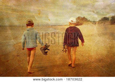 Children walking on the beach