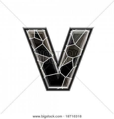 Abstract 3d letter with stone wall texture - V