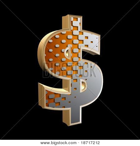 abstract 3d currency sign with halftone texture - dollar