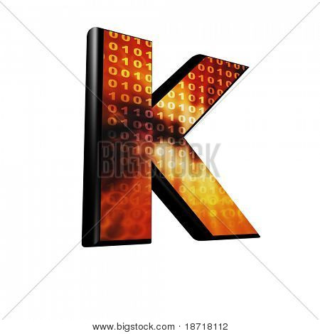 Abstract 3d letter with futuristic texture - K