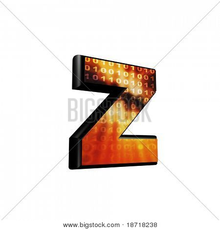 Abstract 3d letter with futuristic texture - Z