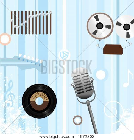 Reel To Record Retro Music Background