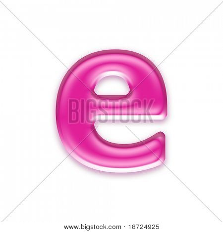 pink jelly letter isolated on white background - e