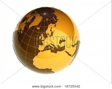 3d glossy earth isolated on white background