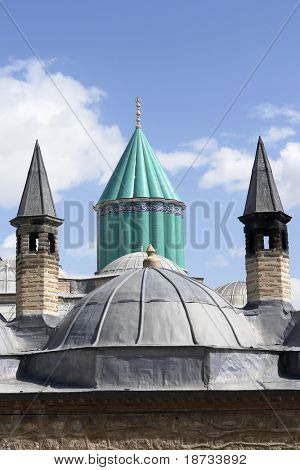 Mevlana museum in Konya Turkey - Domes view