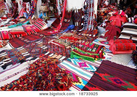 Traditional oriental carpets in Wakif souk in Doha Qatar