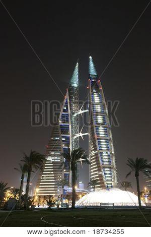 Bahrain World Trade Center Nachtszene