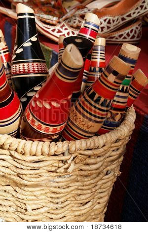 Traditional Mostar reedpipe flutes in basket