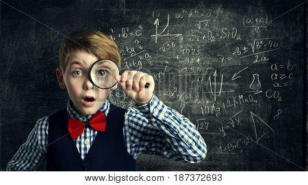 Child Magnifying Glass Amazed School Kid Student Boy with Magnifier Study Mathematics Math Education