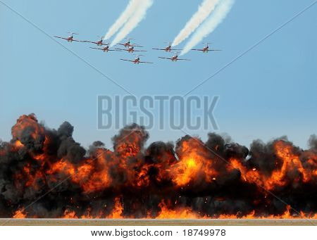 Jet fighters Attacking With Aerial Bombardment