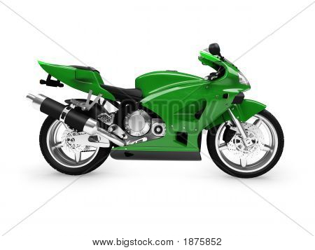 Isolated Motorcycle Side View