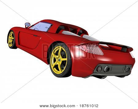Red sport car isolated on white background. Not associated with any brand
