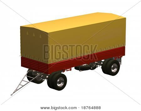 yellow and red semi-trailer isolated  illustration