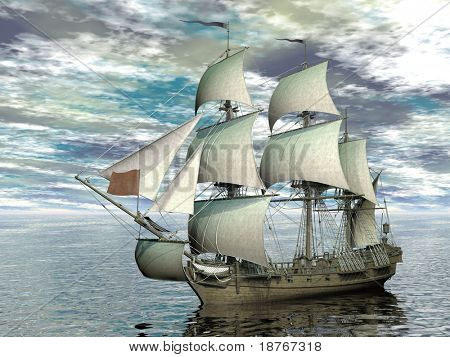 sailing ship in vast sea