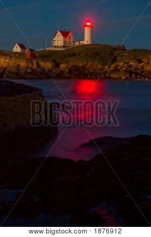 Nubble Lighthouse, Cape Neddick, Maine, At Dusk