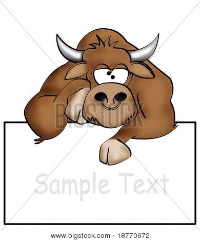 illustration of a bored bull with a blank sign