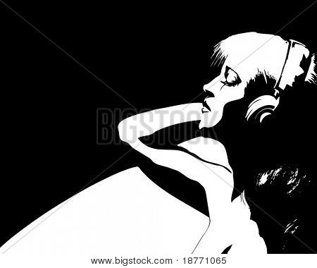 vector illustration of woman listening to music