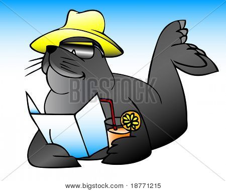 illustration of a sea lion on vacation