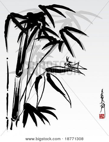 vector illustration of bamboo and grasshopper