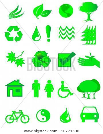 vector illustration of assorted ecology symbols