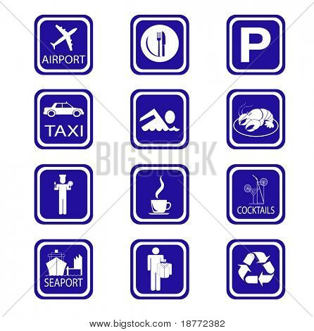 vector illustration of assrted signs and symbol
