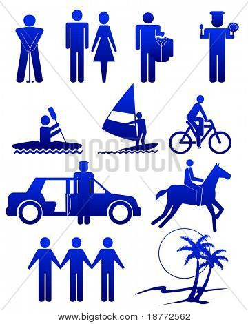 vector illustration of assorted human activities and services
