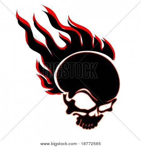 vector illustration of a skull in flames