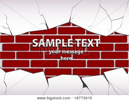 vector illustration of a cracked plastered brick wall