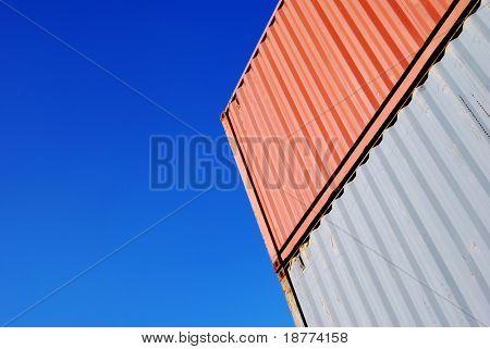 Stapled cargo container and a blue sky