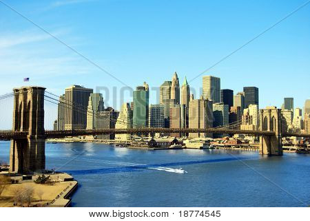 Lower Manhattan and Brooklyn Bridge in New York City