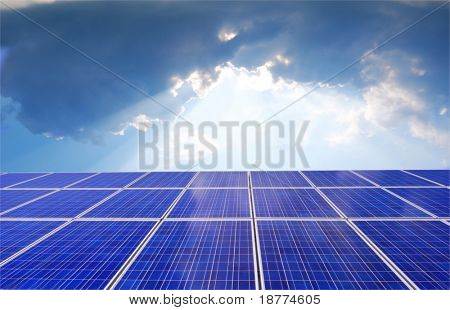 Solar panel with bright sunlight