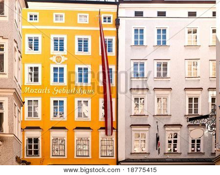 Birthplace of Mozart in Salzburg in Austria