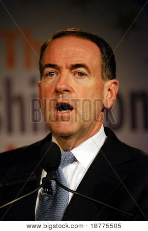 "WASHINGTON DC – OCT 20: Governor Mike Huckabee speaking at ""Washington Briefing 2007: Values Voter Summit"" on October 20, 2007, at the Hilton Hotel in downtown Washington DC."