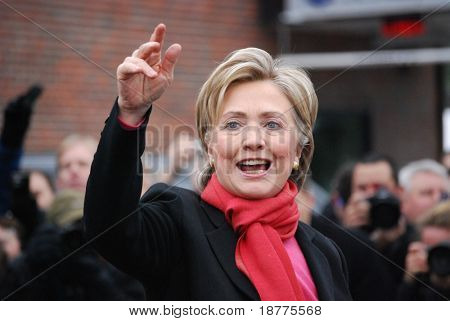 MANCHESTER, NH â?? JAN 8: Senator Hillary Clinton campaigning to become the Democratic party presidential candidate on January 8, 2008, in Manchester, New Hampshire.