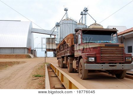 Truck on a scale with a load of soybeans in Brazil, soy storage warehouse and silos in the background