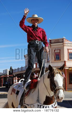 "TUCSON - FEB 26: ""Texas Kate"" horseback rider performing for tourists in Tombstone, Arizona, site of the legendary OK Corral gunfight, on February 26, 2008."