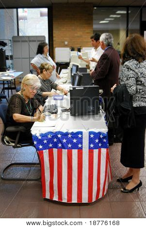 EL PASO - FEB 25: Primary voting in El Paso, Texas, on February 25, 2008. Primary voting has been exceptionally popular, and early voting is predicted to be at record level in the 2008 elections.