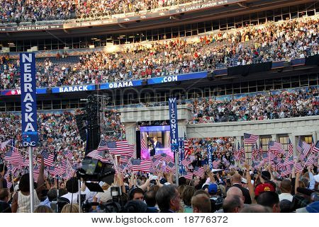 DENVER - AUG 28: Former presidential candidate Al Gore speaking at Invesco Field at Mile High Stadium, on August 28, 2008, in Denver, Colorado, at the end of the Democratic Party convention.