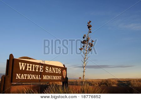 WHITE SANDS - Feb 26: Welcome sign at the White Sands National Monument in New Mexico, with a soaptree yucca in the foreground, on February 26, 2009.