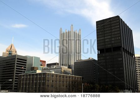 PITTSBURGH - FEB 11: Alcoa's massive layoffs are clouding the economic prospects of Pittsburgh, Pennsylvania, downtown skyline seen here on February 11, 2009.